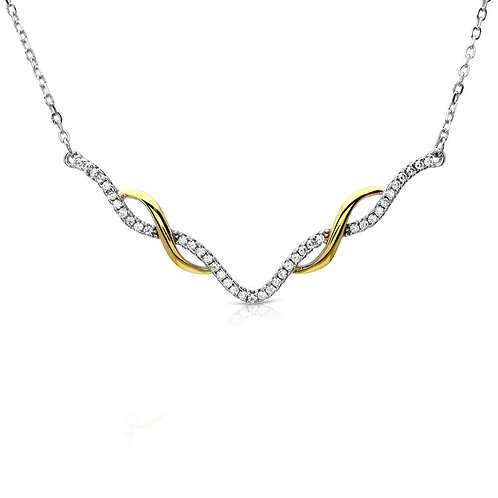White Cubic Zirconia Sterling Silver Gold and Rhodium Plated V-Shaped Necklace