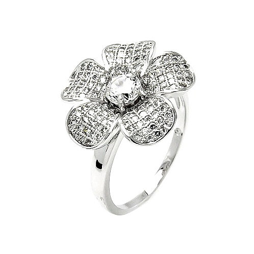 925 Rhodium Plated Clear Micro Pave Set CZ Flower Ring
