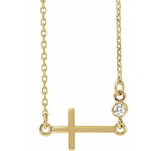"""14K Yellow .03 CTW Diamond Sideways Cross 16-18"""" Necklace"""