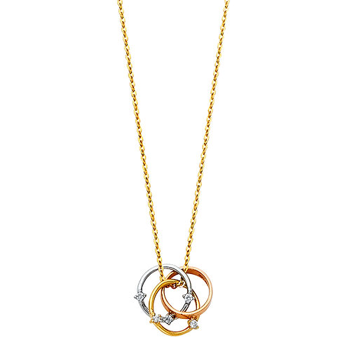 14K Tricolor Gold Fancy Multiple Necklace