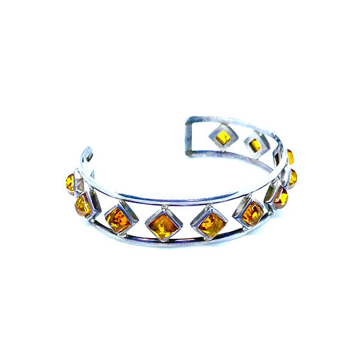 Genuine Amber Sterling Silver Bangle Bracelet