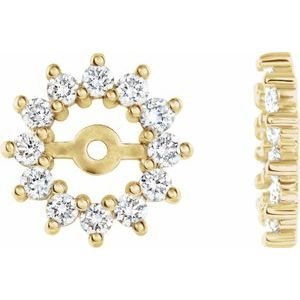 14K Yellow 1/2 CTW Diamond Earring Jackets with 4.2mm ID