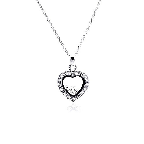 925 Clear CZ Rhodium Plated Heart CZ Accent Pendant Necklace
