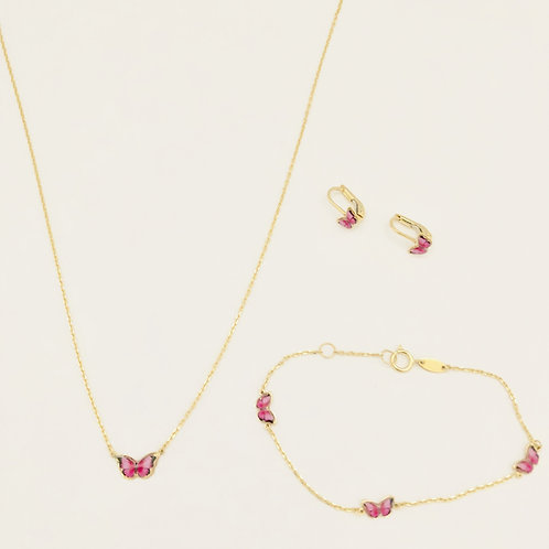 Pink Butterfly Set in 14k Yellow Gold