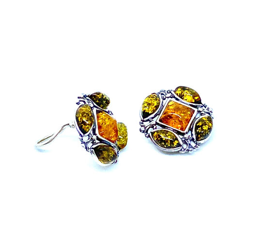 Natural Baltic Amber Sterling Silver Clip Earrings