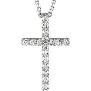 """14K White 1/6 CTW Petite Diamond Cross 18"""" Necklace"""