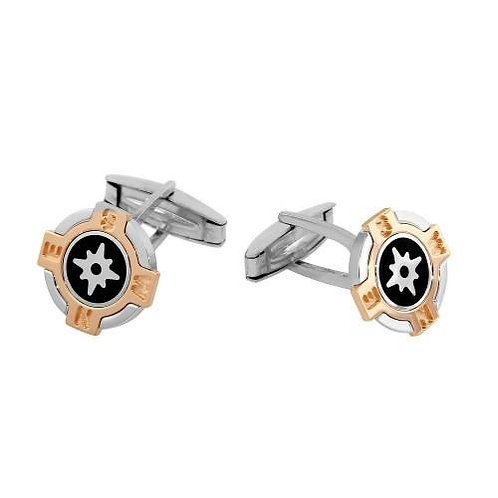 Tri Color Compass Sterling Silver Rhodium Plated Cufflinks
