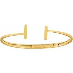 "14K Yellow Hinged Cuff Bar Bracelet 7"""
