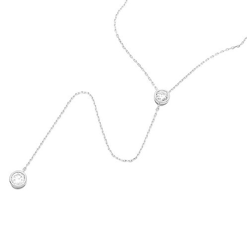 Double Cubic Zirconia Sterling Silver Rhodium Plated Drop Necklace