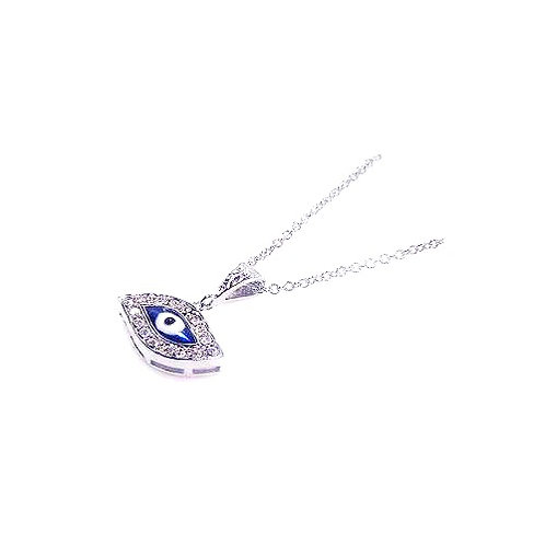 925 Clear CZ Rhodium Plated Evil Eye Pendant Necklace