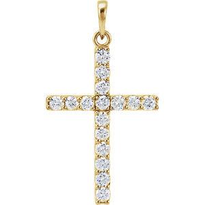 14K Yellow 3/4 CTW Diamond Cross Pendant