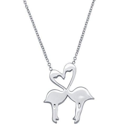 925 Rhodium Plated Flat Flamingo Pendant Necklace