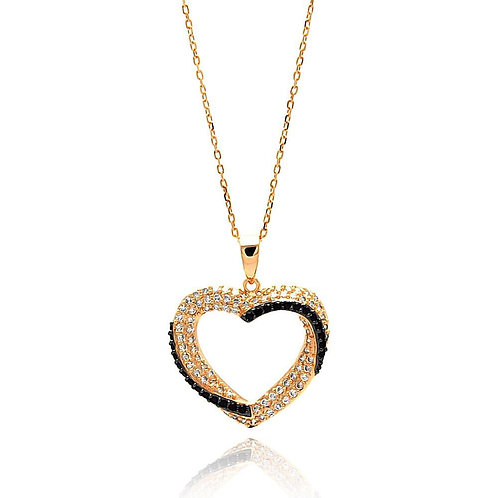 Pink Heart Cubic Zirconia Sterling Silver Necklace Pendant