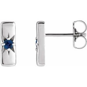 14K White Blue Sapphire Starburst Bar Earrings