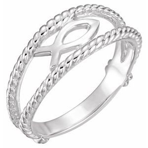 Sterling Silver Ichthus (Fish) Chastity Ring Size 8