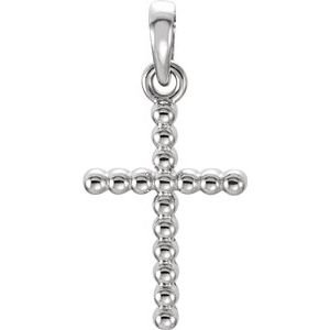14K White 13.5x9.4 mm Beaded Cross Pendant