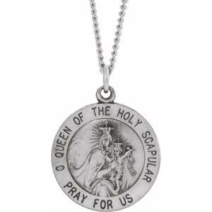 """Sterling Silver 18 mm Round Scapular 18"""" Necklace"""