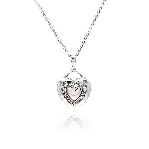 925 Rhodium Plated Heart Clear CZ Inlay Dangling Necklace