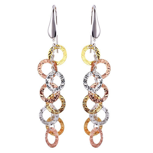 Tri-Colored Dangling Circle Sterling Silver Earrings