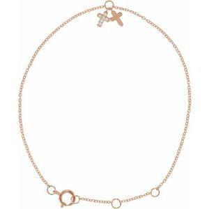 "14K Rose .03 CTW Diamond Cross 5-7"" Bracelet"