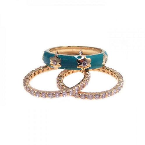 Blue Enamel Flower Stacking Ring Set