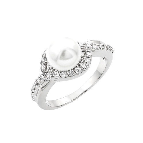 Synthetic White Pearl Cubic Zirconia Ring