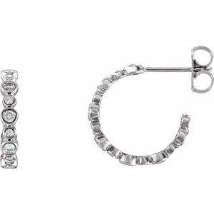 14K White 3/8 CTW Diamond Hoop Earrings