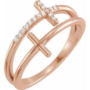 14K Rose .06 CTW Diamond Sideways Cross Ring