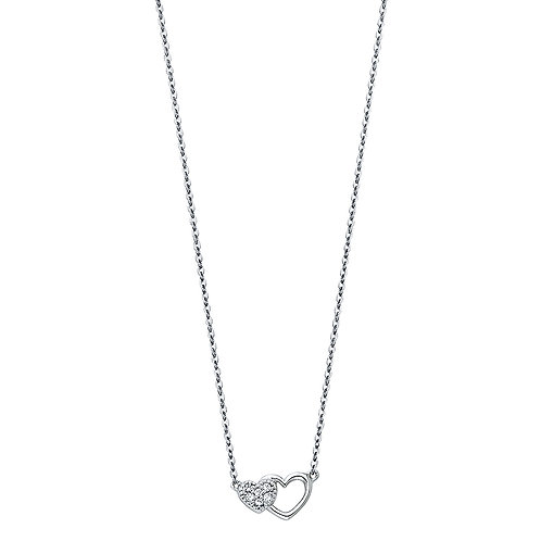 14K White Gold Fancy Heart Necklace