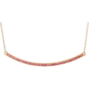 "14K Rose Pink Sapphire Bar 16-18"" Necklace"