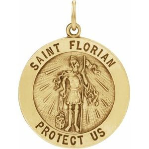 14K Yellow 22 mm Round St. Florian Medal
