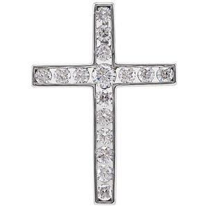 14K White 1/3 CTW Diamond 20.4x14.9 mm Cross Pendant