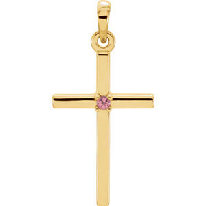 14K Yellow 22.65x11.4 mm Pink Tourmaline Cross Pendant