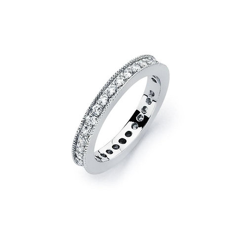 Stackable Cubic Zirconia Sterling Silver Rhodium Plated Eternity Band Ring