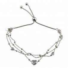 925 3 Toned Plated Multi Chain Hearts Beaded Lariat Bracelet