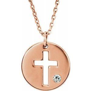 "14K Rose .03 CTW Diamond Pierced Cross Disc 16-18"" Necklace"