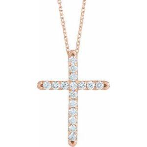 14K Rose 1/2 CTW Diamond French-Set Cross Necklace