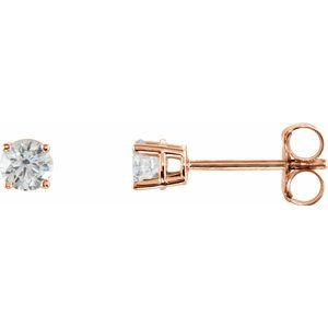 Sterling Silver 3.5 mm Round Cubic Zirconia Earrings