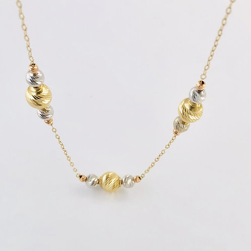 Polished Balls Necklace in 14k White/ Yellow Gold