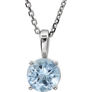 "14K White Aquamarine ""March"" Birthstone 18"" Necklace"