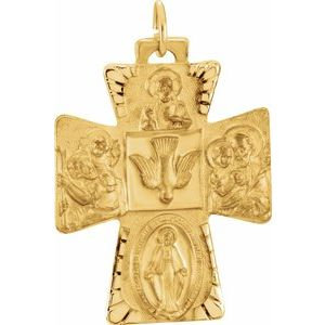 14K Yellow 28x23.5 mm Four-Way Cross Medal