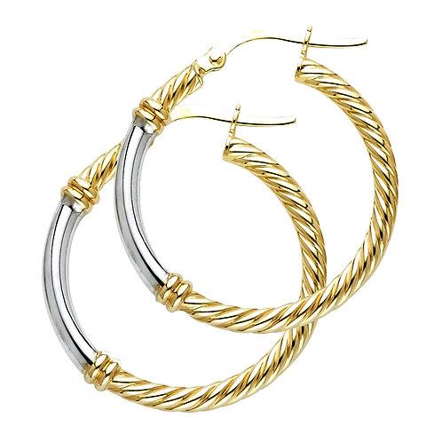 14K Two Tone2.5mm Rope Hoop Earrings