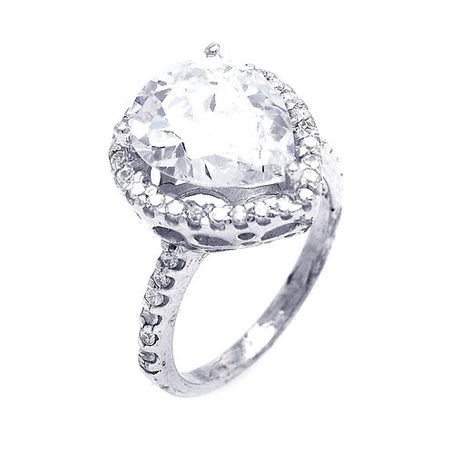 Pear Shaped Center Cubic Zirconia Sterling Silver Cluster Ring