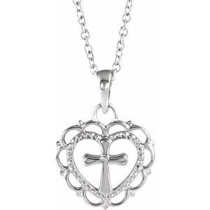 """14K White Youth Heart with Cross 16-18"""" Necklace"""