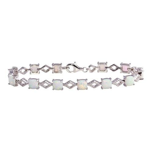 925 Rhodium Plated Opal Tennis Bracelet