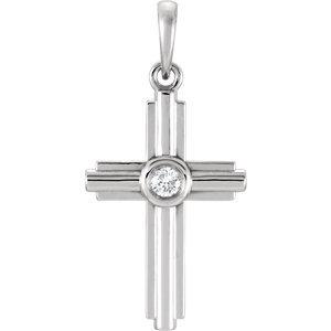 Sterling Silver .06 CTW Diamond Cross Pendant