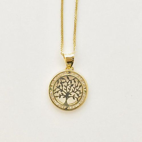 Family Tree Necklace in 14k Yellow Gold