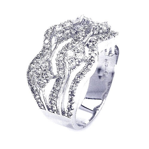 925 Rhodium Plated Clear CZ Wave Ring