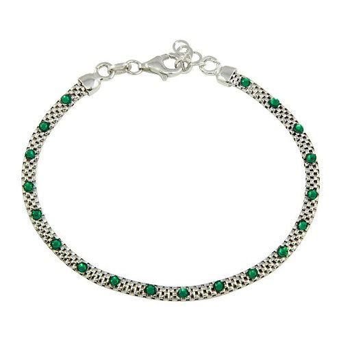 925 Rhodium Plated Bracelet with Black, Green, or White CZ Stones