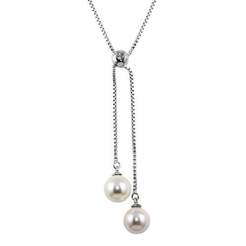 White Synthetic Pearl Sterling Silver Drop Adjustable Necklace